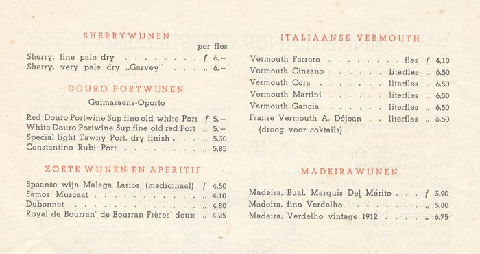 Assortiment versterkte wijnen van Van Wageningen en de Lange, 1949